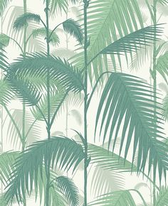 Buy Cole & Son Contemporary Restyled Palm Jungle Wallpaper online with Houseology's Price Promise. Full Cole & Son collection with UK & International shipping. Blue And White Wallpaper, Cole And Son Wallpaper, Green Wallpaper, Wallpaper Roll, Leaves Wallpaper, Palm Wallpaper, Wallpaper Decor, Original Wallpaper, Wallpaper Backgrounds