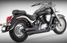 Vance and Hines Twin Slash Staggered Black Full System Exhaust for Kawasaki 200 – One Size