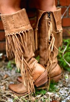 Liberty Black - Tall Fringe - Tan boots #boho #boots