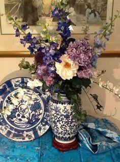 Spring Floral Arrangement in Blue and White Oriental Vase-Orchids, Hydrangeas an