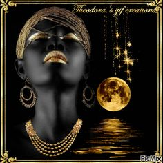 The golden side of Africa Black Girl Art, Black Women Art, My Black, Art Girl, Black Gold, Golden Jewelry, Beautiful Gifts, African Women, Face Art