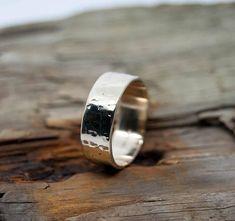 Gold hammered ring textured ring gold wedding band artisan