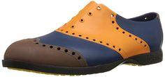Biion Men's The Wingtips Oxford and Golf Slip On, Orange/Brown/Navy