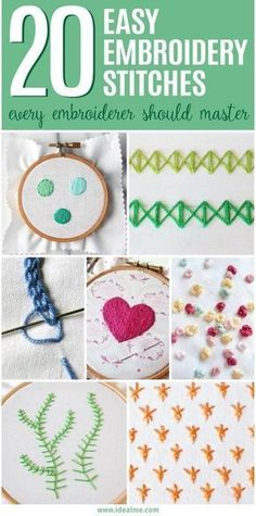 We've found 20 great #embroidery stitch tutorials to get you started learning to embroider, including the basic stitches that every beginner to embroidery should learn. All you need to get started is a hoop, some material, needles, embroidery floss and a pair of scissors. #embroiderystitchestutorial