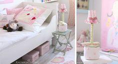Prinzessinnenzimmer-Bett und Nachttischlampe