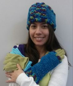"""Warm and chenille headband and matching fingerless """"texting"""" gloves. Color coordinated gloves can be worn underneath for ultimate warmth. All handmade by Sherrissima Designs in the U.S.A."""