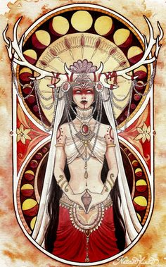 """natasailincic: A few words about this painting, since so many of you are asking me about the symbolic meaning. As you may know, Yoni is one of the most primeval forms of the goddess. She represents the origin of life, the womb or """"secred temple"""" in Hindu philosophy, the creative force of the Shakti/Devi. She's doing a """"yoni mudra"""" with her hands (a symbolic hindu gesture that represents the woman's vulva and the primal female energies) and behind her you can see the moon phases which…"""