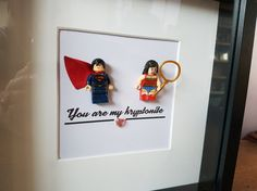 Items similar to Superhero//Superman//Superwoman//Minifigure//Shadow Box Frame//Lego//Kryptonite//DC Fans//Personalise//Engagement//Anniversary//Love on Etsy Valentines For Boys, Valentine Day Crafts, Comic Book Wedding, Lego Pictures, Picture Walls, Baby Mobiles, Creation Deco, Shadow Box Frames, Art Kids