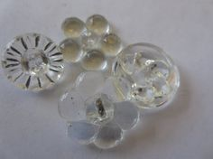 Vintage Buttons  Clear Depression glass cut glass by pillowtalkswf, $6.95