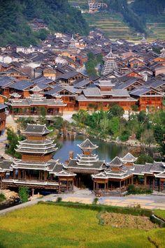 Zhaoxing Dong Village, Guizhou Province 肇兴侗寨,贵州. photo via Discover China.