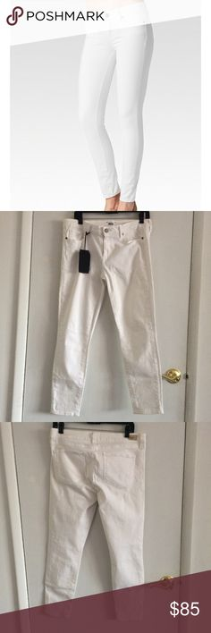 """NWT Paige Optic White Verdugo Ankle Skinny Jeans NWT Paige Verdugo Ankle Skinny Jeans in Optic White. Who says you can't wear white after Labor Day? However there is store try on wear including tanner on waist. Likely all needs to be bleached or dry cleaned. Please see all photos! Waist is true to size. Length is about 34.25""""in and rise is about 9""""in. PAIGE Jeans Ankle & Cropped"""