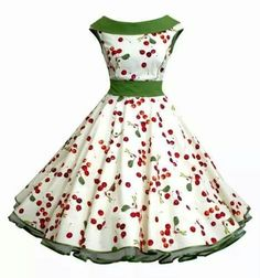 I have platforms that would look Devine with this dress~ 50s green cherry dress