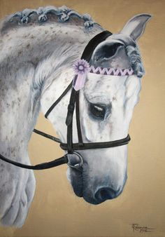 "'Rockstar'. Grey pony by Tania Robinson. Private commission 2012. Acrylic on canvas 12""x16"""