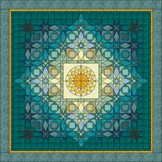 Designed by Jo Moury for an Electric Quilt contest. Pretty blues, and I love the sunflower in the center.