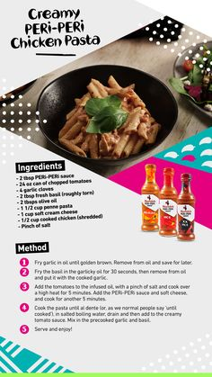Ingredients: - 2 tbsp PERi-PERi sauce - 1 cup dry penne pasta - cup cooked, shredded chicken - 24 oz can of chopped tomatoes - 4 garlic cloves - 2 tbsp fresh basil, roughly torn - 2 tbsps olive oil - cup soft cream cheese - pinch of salt Peri Peri Sauce, Peri Peri Chicken, Homemade Tacos, Homemade Taco Seasoning, Pasta Cup, Chicken Pasta, Penne Pasta, Pasta Salad, Whole Food Recipes