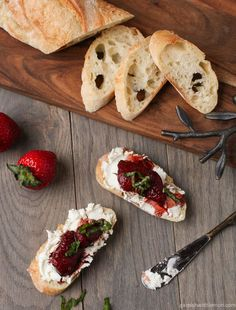 Balsamic Roasted Strawberries on goat cheese toast