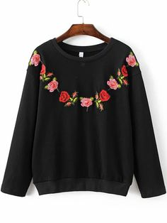 Shop Black Floral Embroidery Ribbed Trim Sweatshirt online. SheIn offers Black Floral Embroidery Ribbed Trim Sweatshirt & more to fit your fashionable needs.