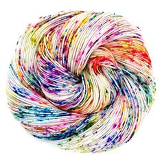 With a rainbow of speckles sprinkled across the natural base, this yarn really shows off the beauty of the fibre. Its soft and bouncy, with