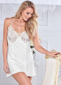 612ea60897 Venus Women s Lace Top Chemise Sexy Lingerie - White