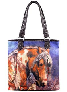 Montana West~Western~Pinto Horse Art~Travel~Canvas~Zip Top~Shop Tote Bag~Purse #Unbranded