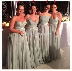 mixed and match bridesmaid dresses wedding guest dress sage green chiffon prom gowns