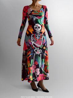 Maya Tulum Dress, illustrated by Tory Novikova. Torynova. Mexican illustrations. Day of the dead. Dios de los muertos.