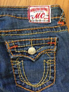 Womens Jeans Miss Chic Medium Wash Boot Cut Low Rise Distressed Sz 9 (33 x 33 )  #MissChic #BootCut