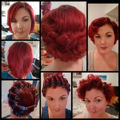 1940s style wet set -- before, during, and after. Note the straight section at the crown Lauren Walker from the group Vintage Updos for Modern Girls.