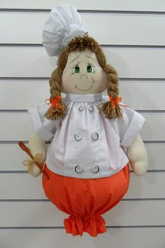 This is an adorable and useful way to use my doll making skills. It would replace my boring sack sock and add a little delightful whimsy to my kitchen.
