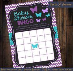 Butterfly Baby Shower BINGO Game  Purple Chevron by ThreeJDesigns