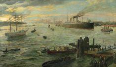 Karl Josef Müller: Hamburger Hafen mit Schnelldampfer Fürst Bismarck und Dreimastbark Noah 1890