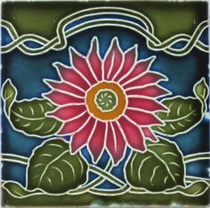 Rare tile in four translucent glazes depicting a red dahlia-like flower on a vine from the preeminent German tile maker, Wessel Wandplattenfabrik, c. 1900-1922. The tile is in very good condition with...