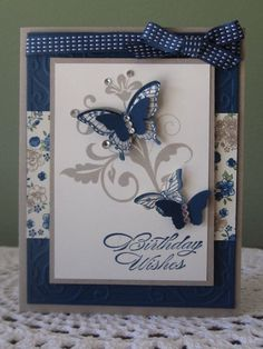 Handmade Greeting Card Designs, Handmade Greetings, Cool Cards, Diy Cards, Making Greeting Cards, Happy Birthday Cards, Birthday Wishes, Stamping Up Cards, Butterfly Cards