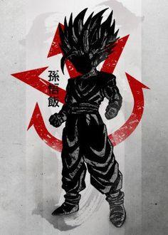 dbz goku gohan crimson characte sayian fanfreak fan anime manga ink inking japan japanese china saiyan power over 9000 just humour level hair strong training piccolo trunks