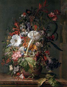 Rachel Ruych, Kukkia maljakossa (ei luennolla näytetty esimerkki, jossa oli mato.) 1698