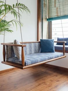 The Teak Wood Furniture in This Home Combines Traditional Purpose & Modern Lifes. - The Teak Wood Furniture in This Home Combines Traditional Purpose & Modern Lifestyle Source by - Indian Home Interior, Indian Interiors, Diy Interior, Home Interior Design, Interior Doors, Interior Balcony, Balcony Design, Wood Interiors, Design Your Home