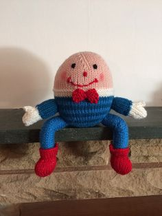 Suitably sat on a wall, Humpty Dumpty has been knitted by a reader using Knitted Nursery Rhymes