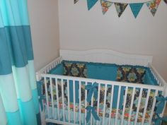 Lilly Belle Turquoise and Gray Crib Bedding by butterbeansboutique, $389.00