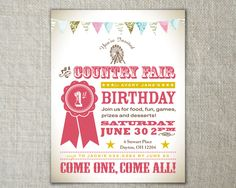 Country fair birthday invitation // carnival by peartreespace