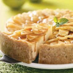 Cinnamon Apple Cheesecake Recipe Desserts with butter, brown sugar, all-purpose flour, quick-cooking oats, chopped walnuts, ground cinnamon, cream cheese, sweetened condensed milk, apple juice concentrate, eggs, tart apples, butter, corn starch, ground cinnamon, apple juice concentrate