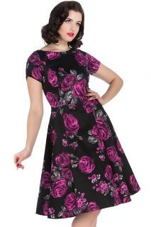 The Violet Rose Print Eloise Dress. Available in Sizes 8-22. Made in London. £50