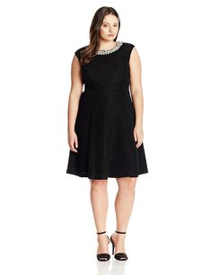 Eliza J Women's Plus-Size Beaded Neck Party Dress with Extended Cap Sleeve ** Check out this great image  : Plus size evening gowns