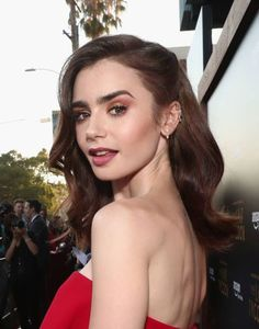 Actor Lily Collins at the Amazon Prime Video premiere of the original drama series 'The Last Tycoon' at Harmony Gold Theatre on July 27 2017 in Los...