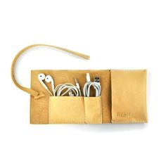 Leather Cable Holder iPhone Charger Roll Cable by RYANLeather, £19.99