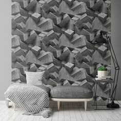 Muriva Quadra Stone Cube Pattern Wallpaper Effect Square Textured Vinyl Decor, Stone Wallpaper, Cube Pattern, Pattern Wallpaper, Living Room Bedroom, Shop Wallpaper, Home Decor, Deep Wall Color, Wall Design