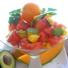Melon, Mango, and Avocado Salad Allrecipes.com   This looks sumptuous and sounds absolutely delicious.
