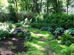 flagstone and gravel path through woodland shade garden to