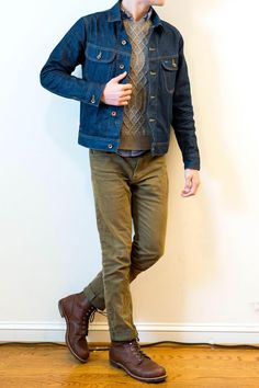 Best Smart Casual Outfits, Cool Outfits, Fashion Outfits, Fashion Trends, Denim Shirt With Jeans, Denim Jacket Men, Country Man, Rugged Style, Herren Outfit