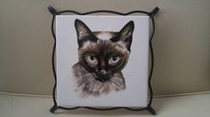Mid Century Siamese cat trivet / spanish tile / kitschy