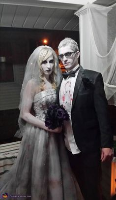 Dead Bride and Groom Costume - 2015 Halloween Costume Contest Epic Halloween Costumes, Halloween Bride, Halloween Cosplay, Halloween Party, Halloween Makeup, Halloween Weddings, Halloween Stuff, Halloween Ideas, Halloween Decorations
